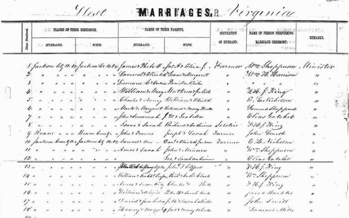 Marriage Record for Theodore Burns and Delilah Cummins