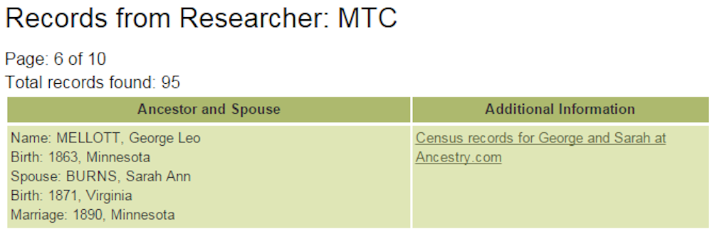 Computerized Ancestor Records for Researcher MTC