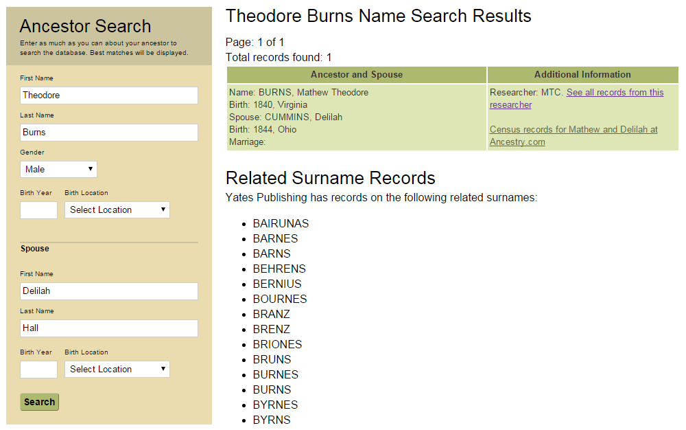 Computerized Ancestor Records for Theodore Burns and Delilah Hall