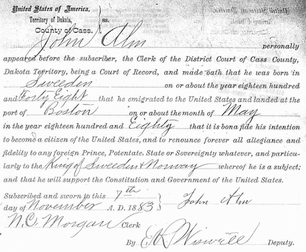 John Alm Naturalization Papers