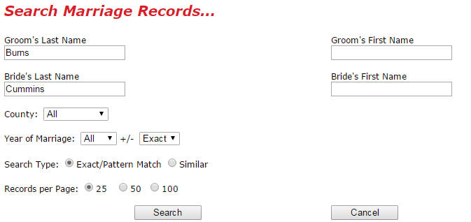 West Virginia Marriage Search Screen